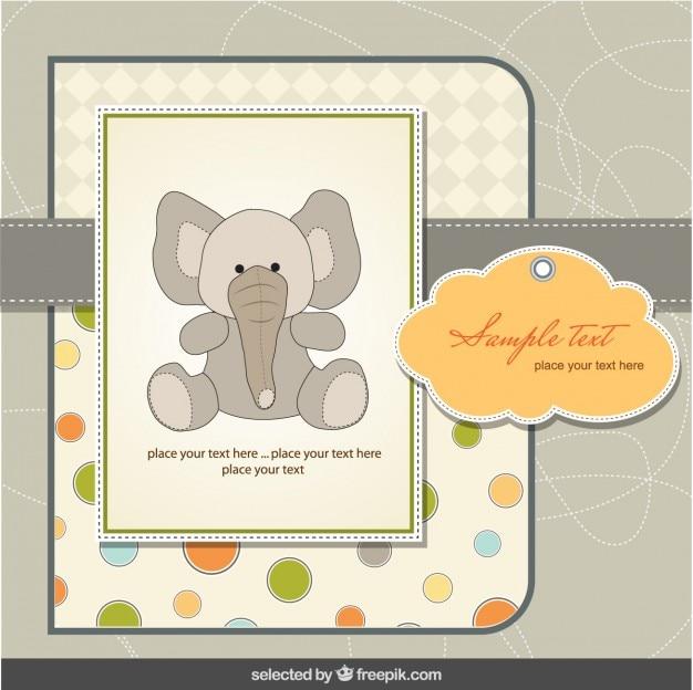 Babydouche kaart met olifant in scrapbook stijl
