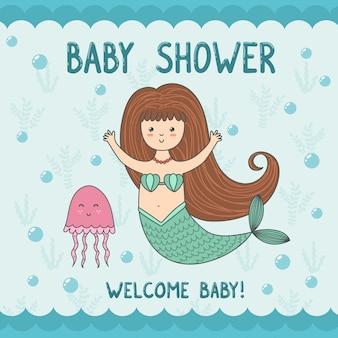 Babydouche kaart met schattige zeemeermin en kwallen.