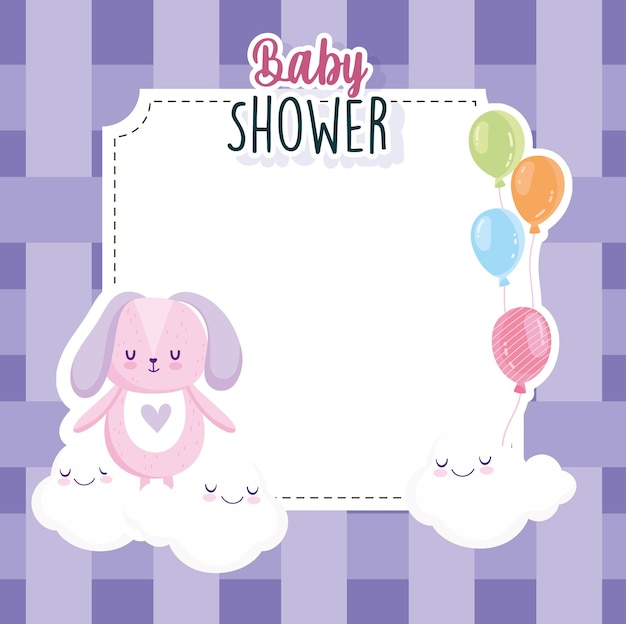 Babydouche, konijn met ballonnen wolken en geruite achtergrond kaart vectorillustratie
