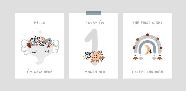 Babydouche, mijlpaalkaarten met baby dier olifant, regenboog. kinderdagverblijf maand verjaardagskaart
