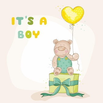 Babydouche of aankomstkaart - met babybeer