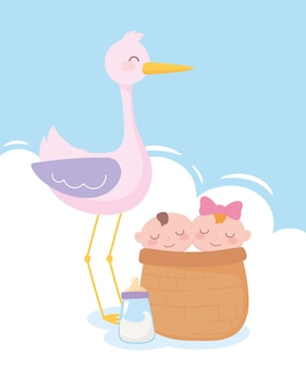 Babydouche, ooievaar met baby's in mand en fles melk, feest welkom pasgeboren