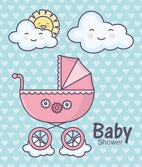 Babydouche roze kinderwagen wolken zon cartoon harten achtergrond