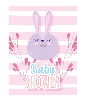 Babydouche, schattig konijn gezicht takken decoratie cartoon, thema uitnodigingskaart