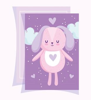Babydouche, schattige hond dier wolk hart liefde cartoon paarse achtergrond