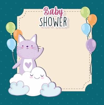 Babydouche schattige kat wolk cartoon ballonnen uitnodigingskaart vectorillustratie