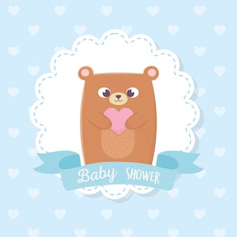 Babydouche, schattige teddybeer met hart blauw lint label decoratie illustratie