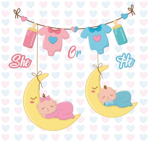 Babydouche van een meisje en een jongen