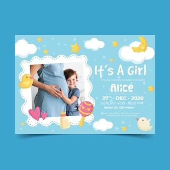 Babydouche voor meisje uitnodiging sjabloon