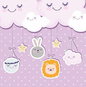Babydouche wolken maan leeuw konijn viering wenskaart vectorillustratie