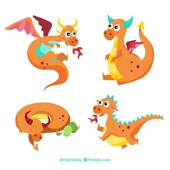 Babydraak karaktercollectie met plat ontwerp