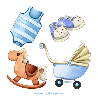 Babyelementen in waterverfstijl die worden geplaatst