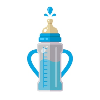 Babyfles met melk met handvatten aan de zijkanten. vlakke afbeelding geïsoleerd