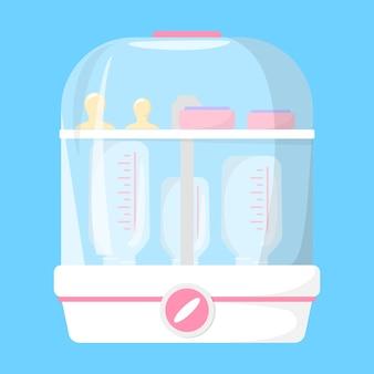 Babyflessterilisator. idee van desinfectie en hygiëne