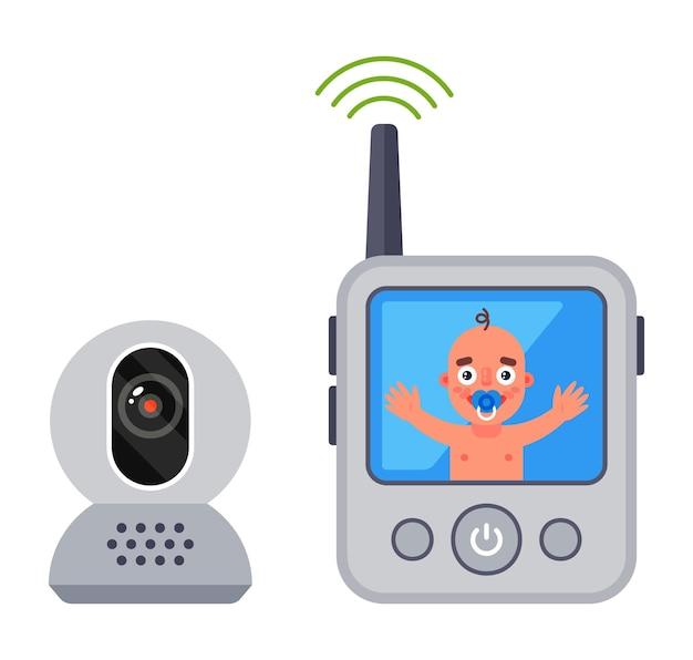 Babyfoon voor een pasgeboren baby. controleer de toestand van de baby in de video.