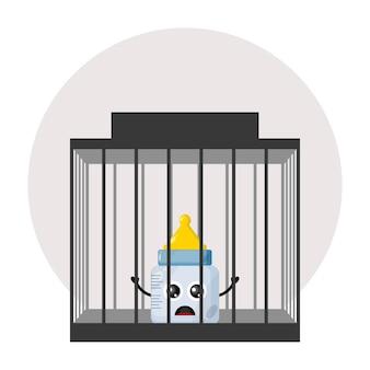 Babyfopspeen gevangenis schattig karakter logo