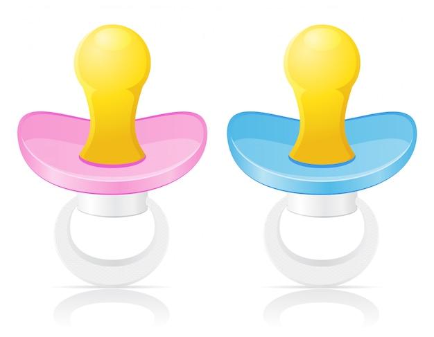 Babyfopspeen roze en blauwe vectorillustratie