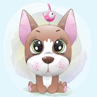 Babyhond schattig karakter geschilderd met waterverf
