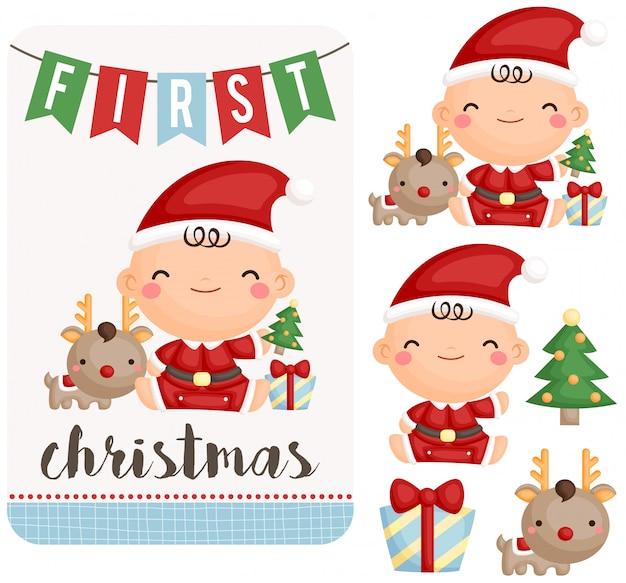 Babyjongen die eerste kerstmis viert