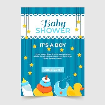 Babyjongen douche uitnodiging sjabloon stijl