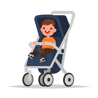 Babyjongen in wandelwagen op een witte achtergrond. illustratie in een vlakke stijl