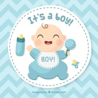 Babyjongen kaart in de hand getrokken stijl
