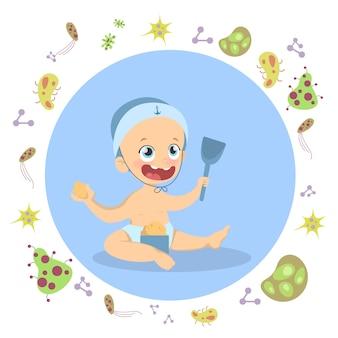 Babyjongen onder schild. buiten spelen zonder ziektekiemen.