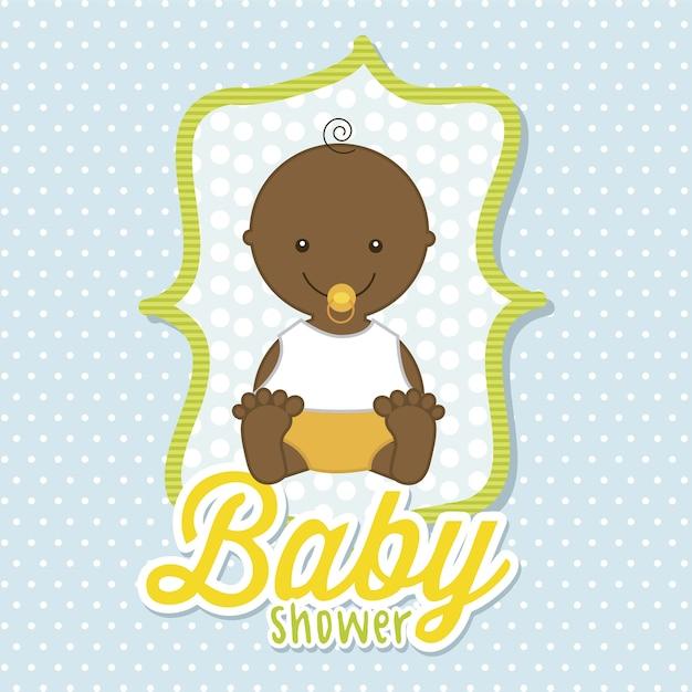 Babyjongen over blauwe achtergrond vectorillustratie
