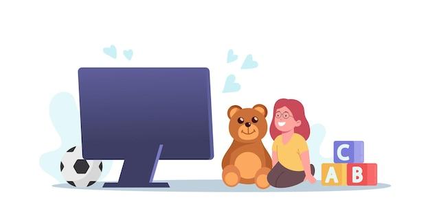 Babykarakter luister virtuele oppas, online oppasservice, concept voor onderwijs op afstand. kinderen entertainen via internet. virtuele lessen, pauze voor ouders. cartoon mensen vectorillustratie