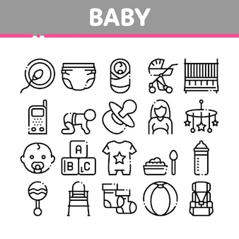 Babykleding en hulpmiddelen collectie icons set