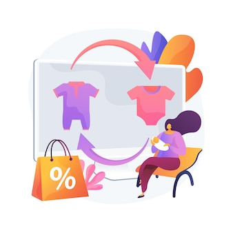 Babykleding inruil abstracte concept vectorillustratie. gebruikt kinderspeelgoed en kleding in ruil voor contant geld of kortingsbonnen, kindermodewinkel, tweedehands, babyspullen, doorverkoopwinkel abstracte metafoor.