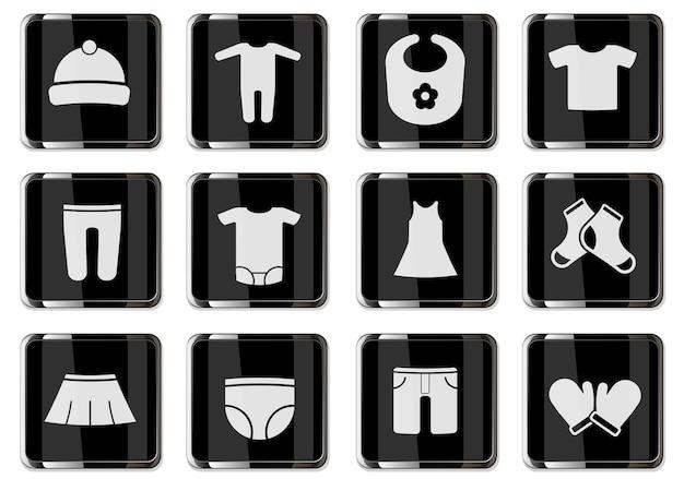 Babykleding pictogrammen in zwarte chromen knoppen. pictogrammenset voor uw ontwerp. vector iconen