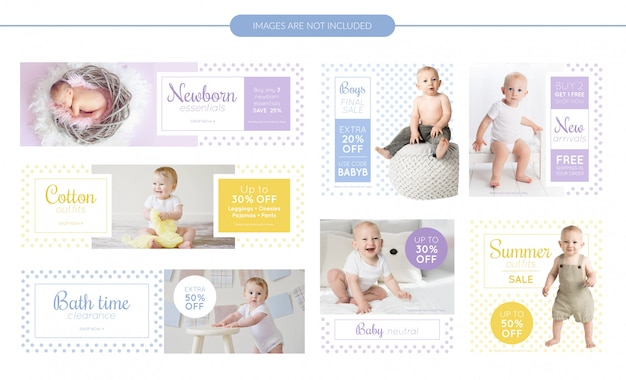 Babykleding verkoop banners set