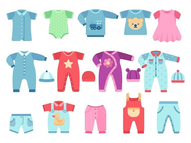 Babykleding voor jongens en meisjes. zuigelings vectorkleren