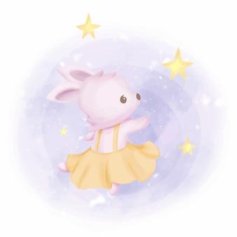 Babykonijn dat met sterren danst