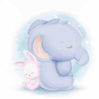 Babykonijn en slapende olifant