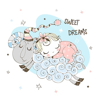 Babymeisje die zoet op een schaap slapen. babyshower. zoete droom.