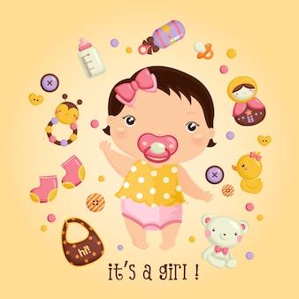 Babymeisje en haar speelgoed
