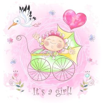 Babymeisje in de wandelwagen.