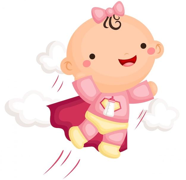 Babymeisje in superheld kostuum