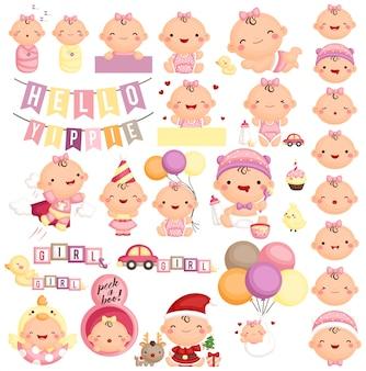 Babymeisje in verschillende actie en expressie
