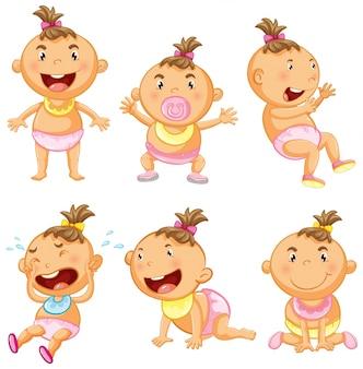 Babymeisje in zes acties