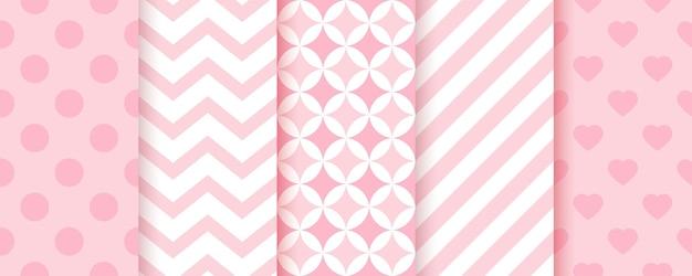 Babymeisje naadloze patroon. roze achtergronden. pastel geometrische prints. set van kinderen texturen. vector