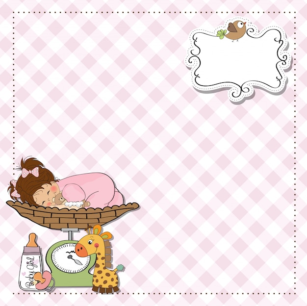 Babymeisje op weegschaal