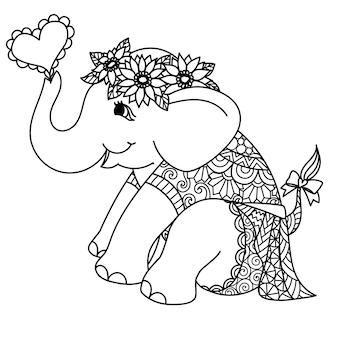 Babymeisjeolifant met zonnebloemkrans en mandala-jurk voor afdrukken op kaart, kleurboek, kleurpagina, lasersnijden, graveren enzovoort. vector illustratie.