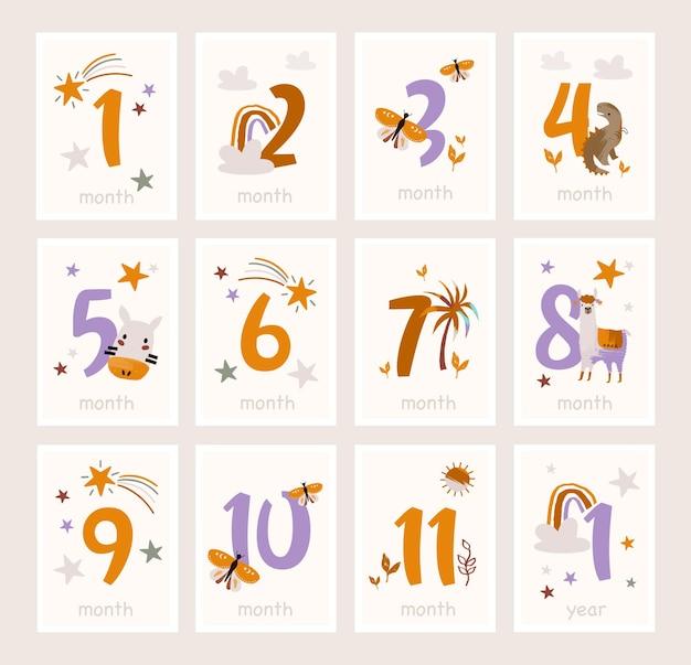 Babymijlpaalkaarten met schattige dieren en cijfers