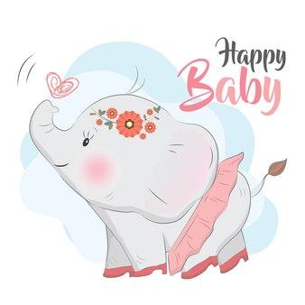 Babyolifant die hoge hielen draagt