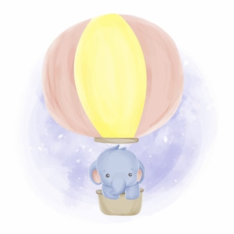 Babyolifant en ballonnen aquarel