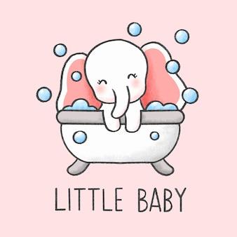 Babyolifant in badkuip cartoon hand getrokken stijl