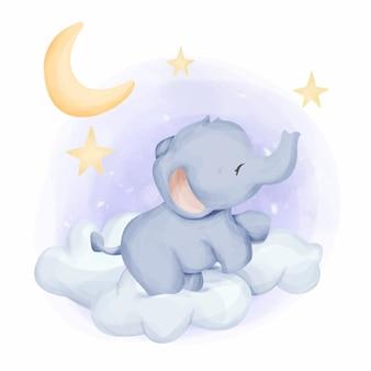 Babyolifant in de lucht